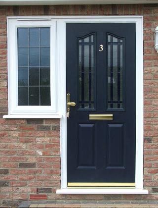 Doors – Blue Composite Door with Brass Hardware